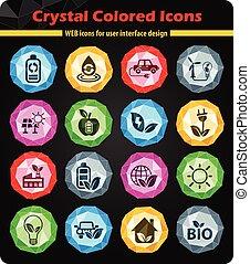 alternative energy icon set - alternative energy crystal...