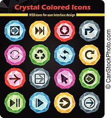 arrow icon set - arrow crystal color icons for your design