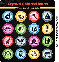 alternative energy icon set - alternative energy crystal...