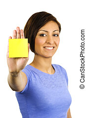 Young woman has a post-it note stuck on her hand. - A...