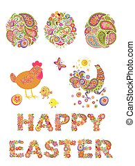 Collection of decorative easter floral eggs and funny hen