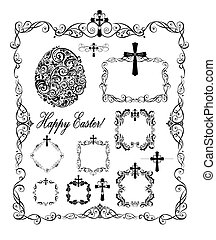 Decorative easter frames with crosses and egg shape (black...