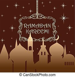 Greeting card for Ramadan with golden night sky, crescent...