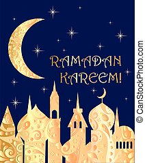 Greeting card for Ramadan with golden town landscape, night...