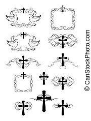 Set of vintage frames and crosses for easter design
