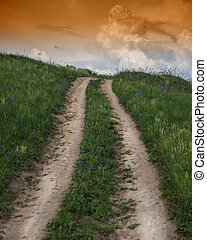 dirt road in a hilly area