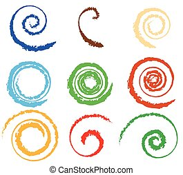 Spiral, vortex element set. 9 different circular shapes....