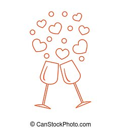 Cute vector illustration of two stemware with hearts....