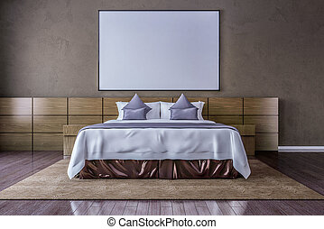 Blank picture frame on the wall in the bedroom