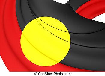 Australian Aboriginal Flag. 3D Illustration.