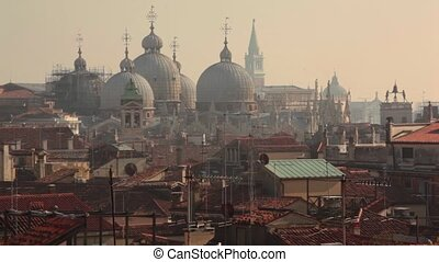 Domes and roofs in Venice view from above