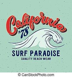 Big wave surfing illustration. Typography design for t shirt...