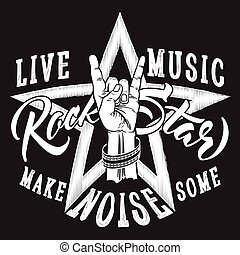 Rock and Roll hand sign with Rock Star inscription. - Hand...