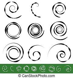 Spiral, vortex element set. 9 different circular shapes....