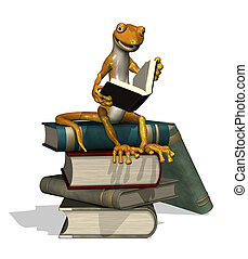 Reading Gecko - A cartoon gecko is reading while sitting on...