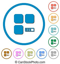 Component processing icons with shadows and outlines -...