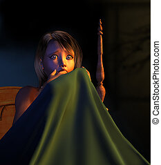 Night Terror - A frightened young girl in bed, hiding behind...