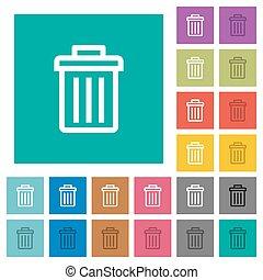 Delete square flat multi colored icons - Delete multi...
