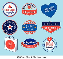 series of vintage retro logos based on shop local theme -...