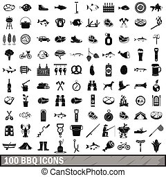 100 BBQ icons set, simple style
