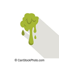 Green slime spot icon, flat style - Green slime spot icon....