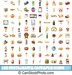 100 restaurant cafe icons set, cartoon style - 100...