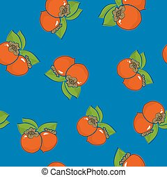 Seamless Pattern , Persimmon on Blue Background - Seamless...