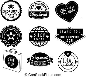 shop local, community shops and stores logos - series of...