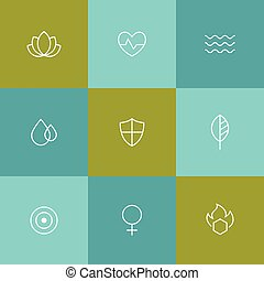 Spa, beauty, relaxing icons - Outline icons spa, beauty,...