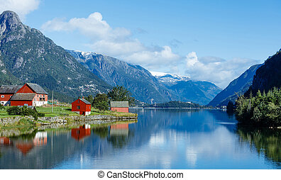 Tipical red fishing houses. Norway - Landscape of Norway....