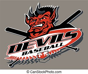 devils baseball team design with mascot for school, college...