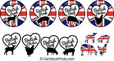 british meat stickers or badges or logos