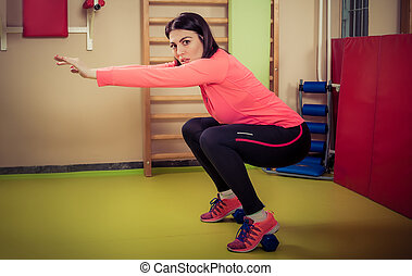 Fitness woman exercising with free weights - Fitness woman...