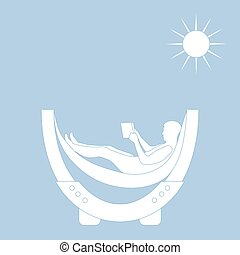 Vector illustration of man resting in a hammock with a book.