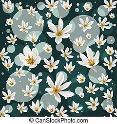 Seamless pattern with white  zephyranthes flowers on turquoise background