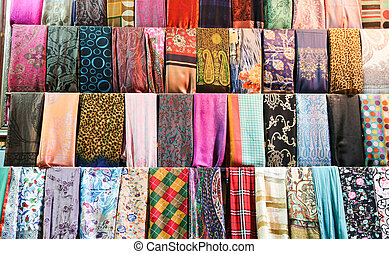 Colorful Turkish Scarfs - Colorful Scarfs in Grand Bazaar,...