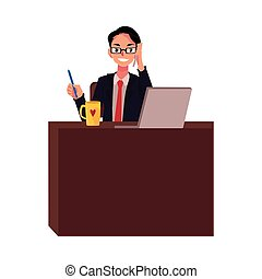 Businessman in glasses working at office desk, talking by phone