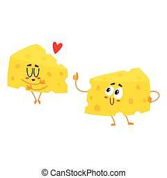 Two funny cheese chunk characters, good quality concept, showing love