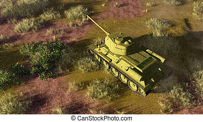 Old tank T 34 on battlefield top view - Top view of old...