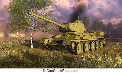 Russian tank T-34 on WWII battlefield - Close up of...