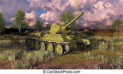 Old russian tank T 34 on WWII battlefield - Old legendary...