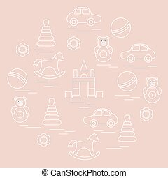 Vector illustration kids elements arranged in a circle: car,...