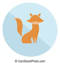 Flat fox icon - Excellent two-colored flat fox icon for your...