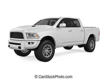 Silver Pickup Truck Isolated - Silver Pickup Truck isolated...