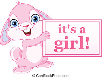 Baby bunny girl - Baby bunny holding its a girl sign