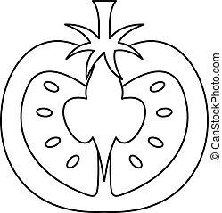 Tomato icon, outline style - Tomato icon. Outline...
