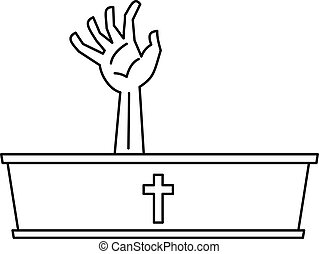 Dead man hand coming out of his grave icon