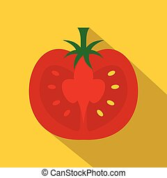 Red half of tomato icon, flat style - Red half of tomato...