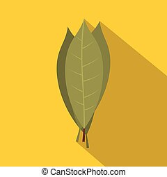 Bay laurel leaves icon, flat style