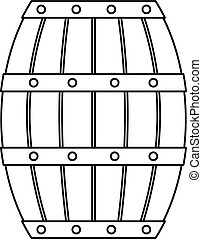 Wooden barrel icon, outline style - Wooden barrel icon....